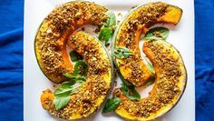 Spruce up your next dinner party with these roasted pumpkin wedges with pepita dukkah crust and minted yoghurt.