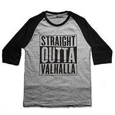 mamisari Straight Outta Valhalla Nordic Viking Vikings Shirt tshirt Raglan 3/4 Sleeve Baseball Tee T-Shirts Medium Grey -- Awesome products selected by Anna Churchill