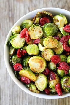 Cranberry Orange Roasted Brussels Sprouts Recipe on twopeasandtheirpod.com A great side dish to any holiday meal!