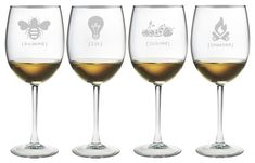 Tipsy Names Wine Glasses ~ Set of 4