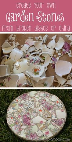 Tutorial on how to take broken dishes and create beautiful garden stones. FYI...these might have sharp edges, so be careful!...could they be coated with a layer of some sort of epoxy to create a smooth surface to step upon?