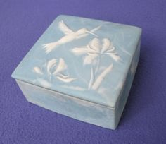 1970's Artist Signed Hummingbird Trinket Box available from Antique Beak on Ruby Lane