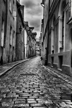 Quiet Alleyway in Old Town, #Tallinn, #Estonia in Black & White