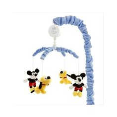 """Disney Mickey Mouse & Pluto Musical Mobile, with plush Mickey & Pluto, plays Brahms """"Lullaby"""""""
