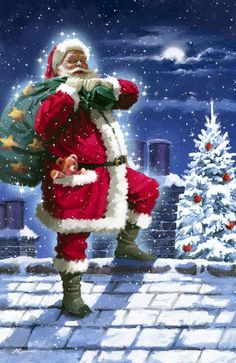 Santa up on the housetop ~ Richard Macneil