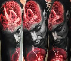 Black and Red Face tattoo by Andrey Kolbasin