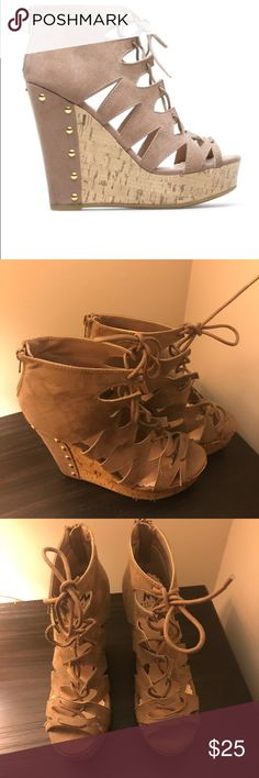 Madison Lace-Up wedges Fun tan wedges that are oddly comfortable for the size wedge they have! Worn 2-3 times Madison Shoes Wedges