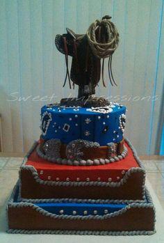 Western themed cake - bandana effect and buckle