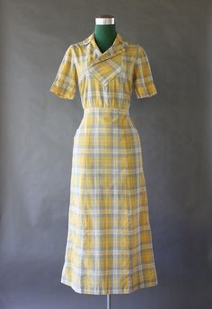 30's Cotton dust bowl dress | vintage 1930s day wear dress | great depression style fashion
