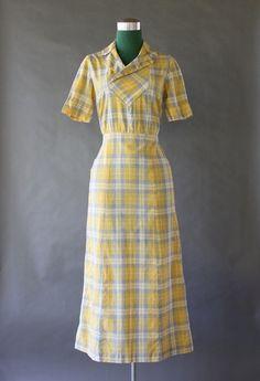 30's Cotton dust bowl dress   vintage 1930s day wear dress   great depression style fashion