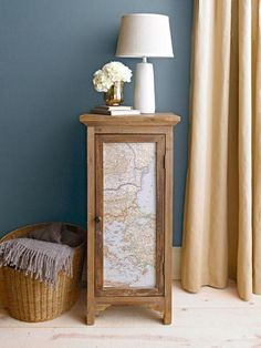 A simple wood table gets new direction when adorned with a map. More DIY furniture ideas: http://www.midwestliving.com/homes/decorating-ideas/22-easy-furniture-makeovers/?page=2