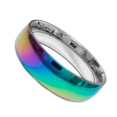 "Smooth Flat Anodized Rainbow Ring - Gay and Lesbian LGBT Pride Jewelry (11). Beautiful ring crafted in stainless steel and detailed with a outer rainbow anodizing. The ring features all the colors of the rainbow in a beautiful display of craftsmanship. This ring is 6mm in thickness. (Note: Anodized colors may vary slightly due to color dipping). Search ""Pride Shack"" on Amazon for More LGBT items!. Best Seller in Gay and Lesbian Pride Merchandise!."