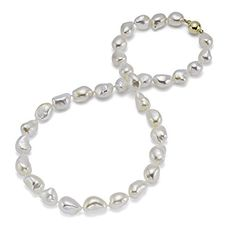 HinsonGayle AAA GEM 1011mm White Baroque Freshwater Cultured Pearl Necklace 14K Yellow Gold 18 ** Click image for more details.Note:It is affiliate link to Amazon.