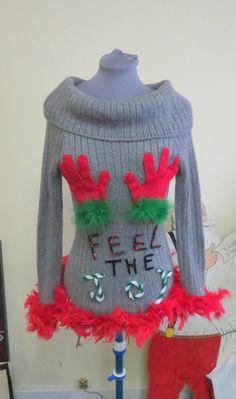 Cute Flirty Feel the Joy Tacky Ugly Christmas Sweater FooFoo Feather Boa Glam womens sz small Mini Dress Grey Metallic PRIORITY SHIPPING