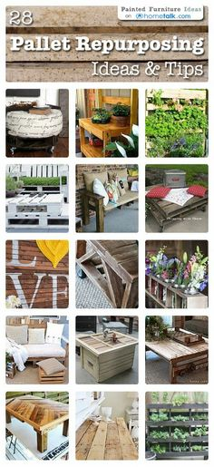 """Pallet Repurposing Ideas & Tips - Click on image below to view the clipboard of individual posts  +~<"""":;,"""