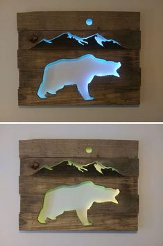 2019 Pallet Glowing Bear Shelf Art The post 33 Best Pallet Glowing Wall Shelf Art Sensod Create. 2019 appeared first on Pallet ideas. Diy Pallet Projects, Woodworking Projects Diy, Diy Wood Projects, Pallet Ideas, Wood Crafts, Woodworking Furniture, Woodworking Plans, Popular Woodworking, Recycled Pallets