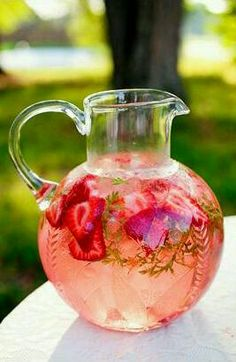 how pretty!   strawberry flavored water