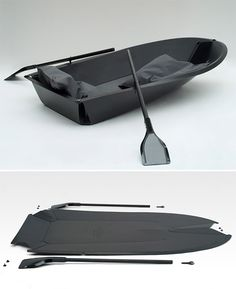 FoldBoat  This 2-person rowboat is made from a single sheet of plastic that you fold up into an actual, floating vessel. You won't want to row it out onto the high seas but it will come in handy for fishing in the local pond or paddling over to see if your neighbors survived the storm surge.