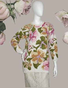 Adrienne Vittadini Floral Intarsia Cotton Sweater by PruAtelier