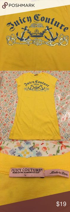 Juicy Couture Sailor Anchor Crown Yellow T-shirt Canary yellow and ready for the sea...or lake...or creek. Gold rope and face blue font. Nice and long with cropped sleeves. Recommended to wet with hoops and attitude. Home of cute dog and no smoke. Juicy Couture Tops Tees - Short Sleeve