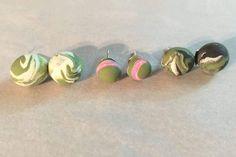 3 polymer clay stud earrings