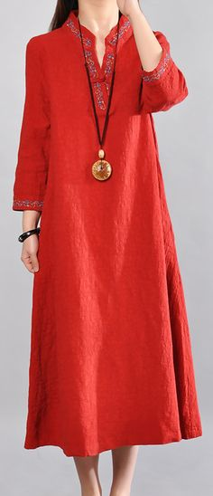 572be3a07d68a Boutique red linen dresses plus size clothing v neck cotton gown 2018  embroidery caftans