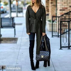 Ecstasy Models Streetstyle wearing ASOS Sweater with Knot Detail - Green, m.i.h jeans body con skinny jeans, Blank Denim Leather Moto Jacket - The One, Stuart Weitzman Highland Over The Knee Boots - Topo and Chanel Maxi Flap Bag
