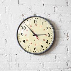 military time clock - school wall clock - simplex - gray metal body - butter yellow face - glass bezel - industrial decor