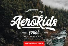 Aerokids Font: This font is inspired on a old american tv show showing baseball and basketball culture. Aerokids is a bold connected script font with a . Handwritten Fonts, Calligraphy Fonts, Script Fonts, New Fonts, Caligraphy, Creative Fonts, Cool Fonts, Alphabet, Types Of Lettering