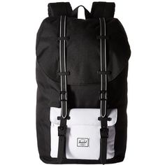 Herschel Supply Co. Little America (Black/Black Rubber/White Insert)... ($100) ❤ liked on Polyvore featuring bags, backpacks, backpack laptop bags, day pack backpack, white backpack, logo backpacks and shoulder strap bags