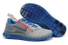 Mens Nike Free 4.0 V2 Cool Grey/Blue Shoes