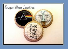 Pink Floyd album cover cookies! Left: Dark Side of the Moon. Middle/Bottom: The Wall. Right: Division Bell. (Baked and painted by: Krista Cook from Sugar Bee Cookies)