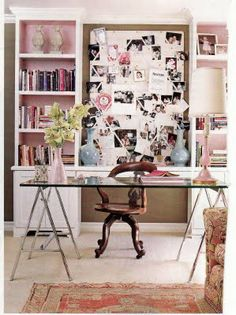 Pink, brown, and white office!  Love this.