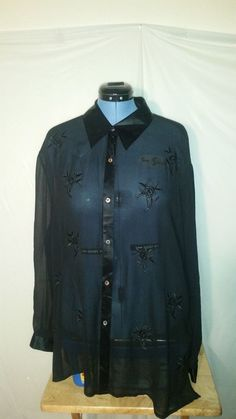 Womens Dressbarn Black Long Sleeve Sheer Embroidered Button Up Blouse 22W PLUS #dressbarn #Blouse