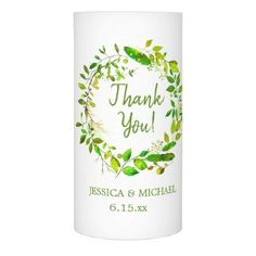 Green Leaf Wreath Wedding Thank You Flameless Candle