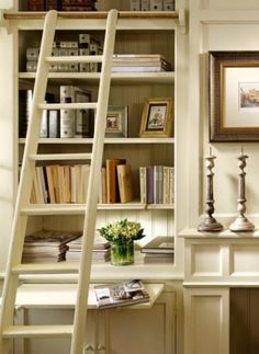 Bookcase built-in w/ ladder and slide-out table