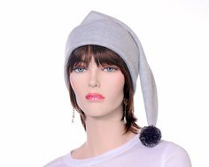31d34206c82 Stocking Cap Dove Gray With Pompom Long Pointed Hat Unisex Mens Womens Hat  Light Elf Hat Beanie