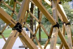 geodesic structure wood, low tech, could be greenhouse frame