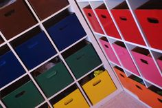 Family Closet - color coded bins (sort by kid, size, item, etc.)