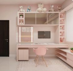 Love this desk but not the wall color. And how it fits with this room. - Love this desk but not the wall color. And how it fits with this room. Love this desk but not the wall color. And how it fits with this room. Girl Bedroom Designs, Girls Bedroom, Bedroom Decor, Bedroom Ideas, Baby Bedroom, Small Apartment Bedrooms, Small Apartment Decorating, Apartment Ideas, Cute Room Decor