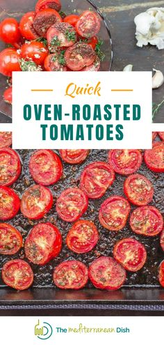 These Oven Roasted Tomatoes are quick to make and you can make them up ahead of time to add to your favorite meal or have as an amazing side dish. Mediterranean Appetizers, Mediterranean Fish Recipe, Mediterranean Dishes, Gluten Free Sides Dishes, Low Carb Side Dishes, Side Dish Recipes, Tomato Side Dishes, Vegetable Side Dishes, Vegetable Recipes