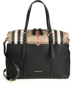 4d46fb8b674 Designer Baby Diaper Bags · Burberry Mason Leather  amp  Check Baby Bag  With the look of a classic tote,