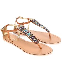 Indigo Aztec Beaded Thong Sandals | Brown | Accessorize