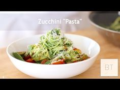 A cooking video that shows 3 different ways to use zucchini (Zoodles) as pasta. Yellow Squash And Zucchini, Zucchini Pasta, Veggie Recipes, Healthy Recipes, Zone Recipes, Noodle Recipes, Healthy Foods, Vegetarian Recipes, Healthy Eating