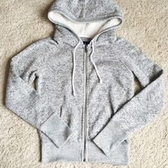 American Eagle AE Sherpa Hooded Sweatshirt Cozy zip up hooded sweatshirt. Substantial fabric. Hood has faux sherpa lining. Size small. Excellent condition. No pilling. American Eagle Outfitters Tops Sweatshirts & Hoodies
