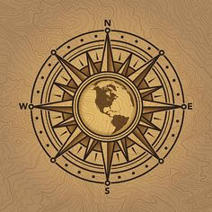 Compass rose with globe design.