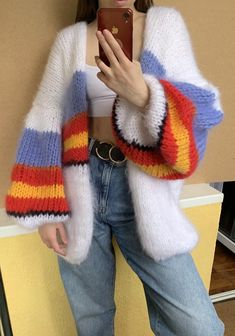Balloon oversized cardigan with blue red stripes Chunky women cardigan - Mohair cardigan - Hand Knit women cardigan Retro Outfits, Stylish Outfits, Cool Outfits, Fashion Outfits, Crochet Clothes, Diy Clothes, Handgestrickte Pullover, Mode Crochet, Diy Couture
