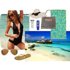 """Beach must haves and outfit!"" by diramirez1413 on Polyvore"