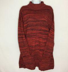 ff47b20b89 Diana Marco Womens Tunic Sweater Crimson Red Black Mock Neck Pullover Size  22 24