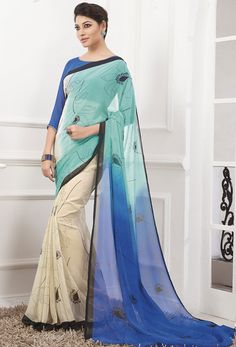 Beige, Mint Blue and Indigo Blue Casual Wear Saree